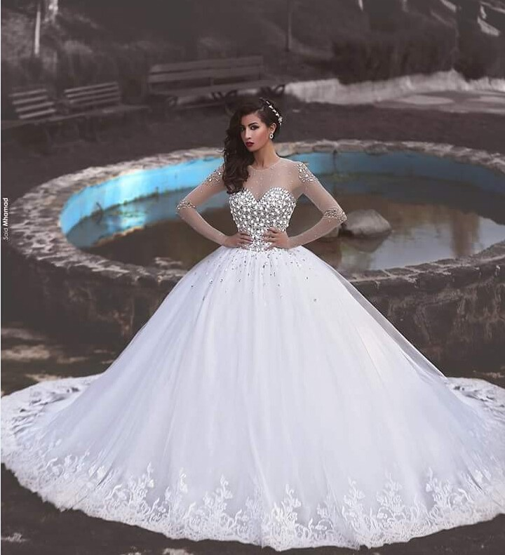 dfed4bd01f 2016 Luxurious Ball Gown Wedding Dress Princess Style Sheer Long ...
