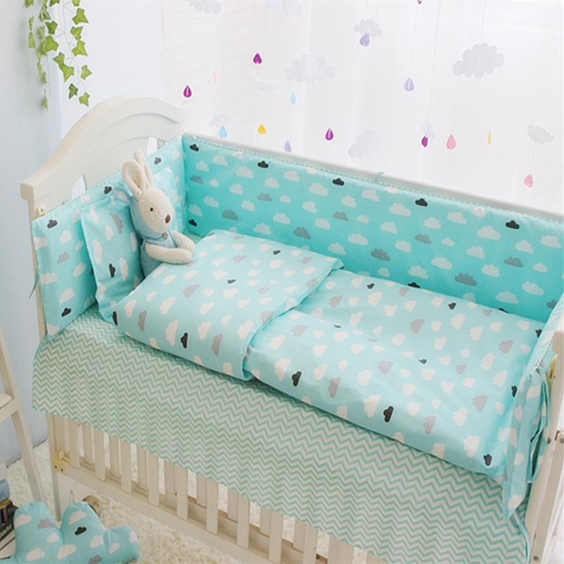 ФОТО Green Clouds 4-10 Pcs Girls Boys Baby Bedding Set Cot Sets 120*60CM Crib Sheet Set Baby Bed Bumper Pillow Quilt Cover+Filling