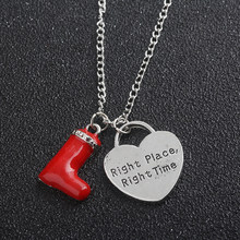 New design How I Met Your Mother Red shoes Necklace Alice in Wonderland Red boots and heart Necklace for beautiful girl(China)