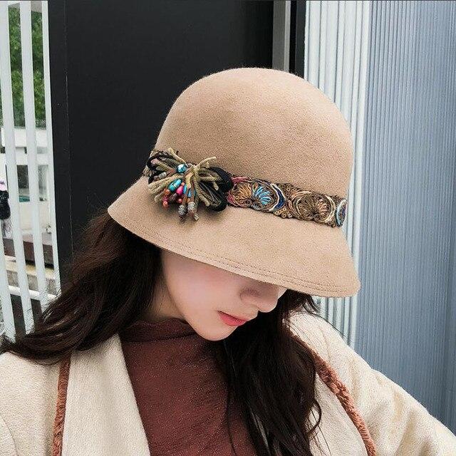 328730954df94 Winter Fashion 100% Wool Cloche Fedora Hat Woman Black Camel Wide Brim  Elegant Floral Felt Hats For Ladies Fisherman s Basin Cap