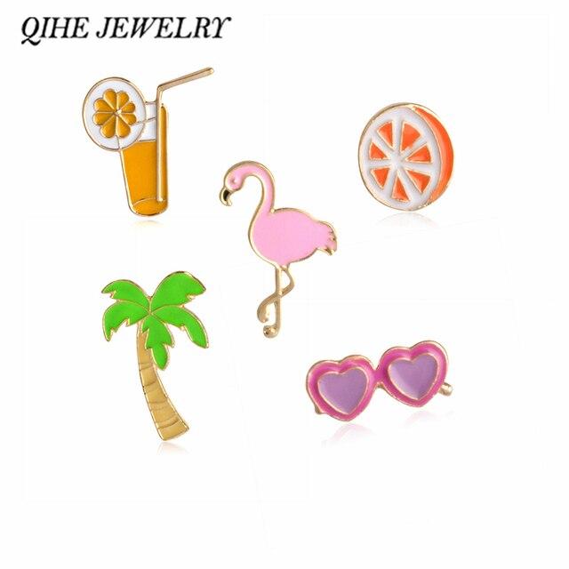QIHE PERHIASAN Kelapa Jus Jeruk Jantung Sunglasses Pink Flamingo Bros Kerah Pin Untuk Kemeja Kerah Jaket Paket Tas Perhiasan