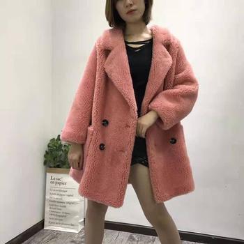 sheep shearing coat plus size parka fur faux leather lining jacket teddy bear long winter women clothes 2019 korean wool blends