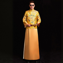 chinese style Wedding mens toast costumes Gown red embroidery groom evening Long gown kimono bridegroom jacket tang suit Clothes