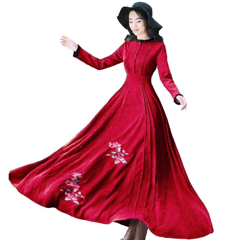 Élégant Floral À Robe Femmes Longue Longues cou D'hiver En Red Broderie Swing Manches Côtelé Vintage Robes O Wine Velours Party Automne Maxi 6FB6qO