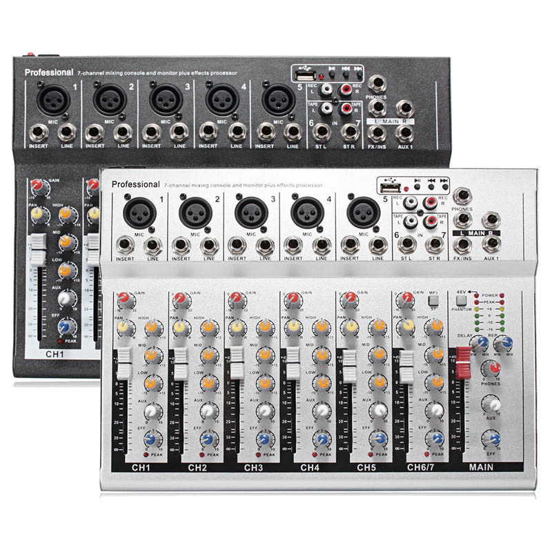 LEORY Professional DJ Mixing Console USB 48V Mini 7 Channel Live Studio Audio Mixer KTV Network Sound Card Sound Console MixerLEORY Professional DJ Mixing Console USB 48V Mini 7 Channel Live Studio Audio Mixer KTV Network Sound Card Sound Console Mixer