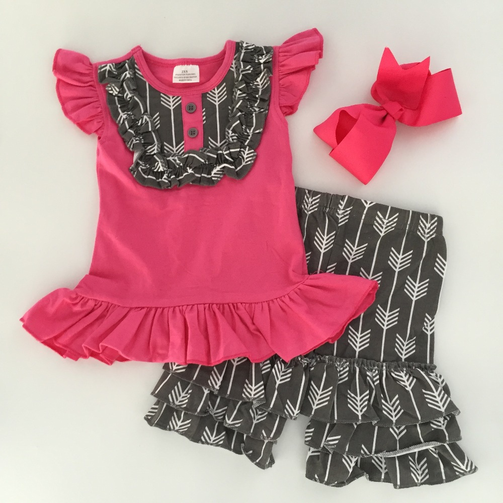 71cc2831a8f 2016 Summer girls outfit hot pink and gray arrow hot sell baby kids boutique  clothing top and shorts matching headband set-in Clothing Sets from Mother    ...