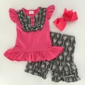2016 Summer girls outfit hot pink and gray arrow hot sell baby kids boutique clothing top and shorts matching headband set