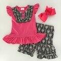 2016 muchachas del verano caliente de color rosa y gris arrow caliente venta del bebé niños boutique de ropa top y pantalones cortos camisa diadema set
