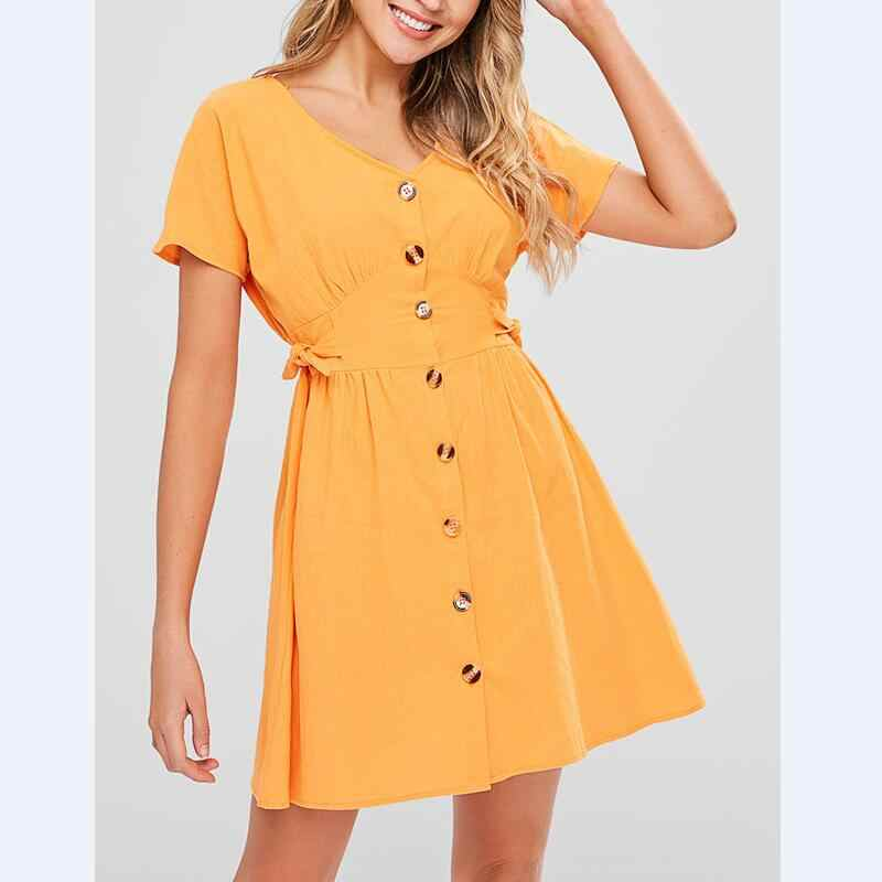 8766664150d Women Slim Button Summer Cotton Dress Short Sleeve 2018 New Solid Casual V- Neck Knotted