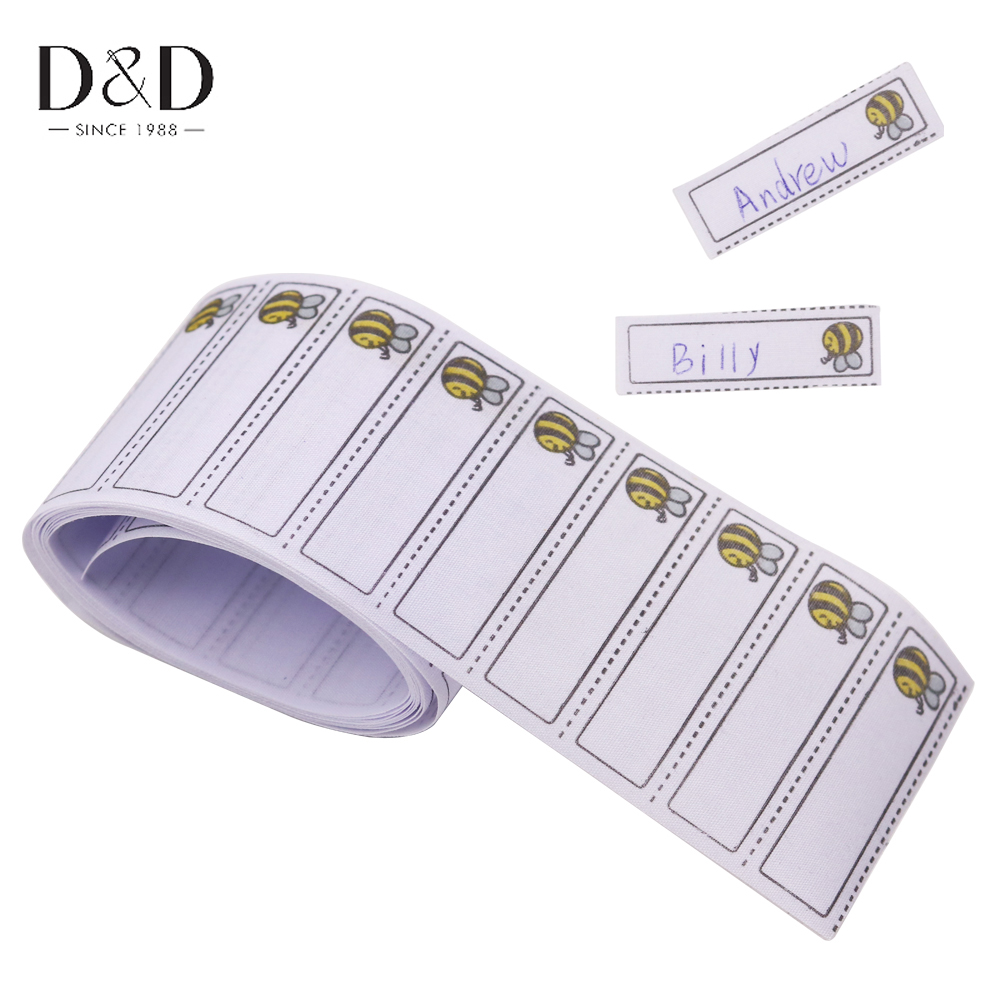 100pcs/pack Iron-on Bee Pattern Washable Name Labels Garment Fabric Tags Clothing Labels Marker Set For Clothes Accessories