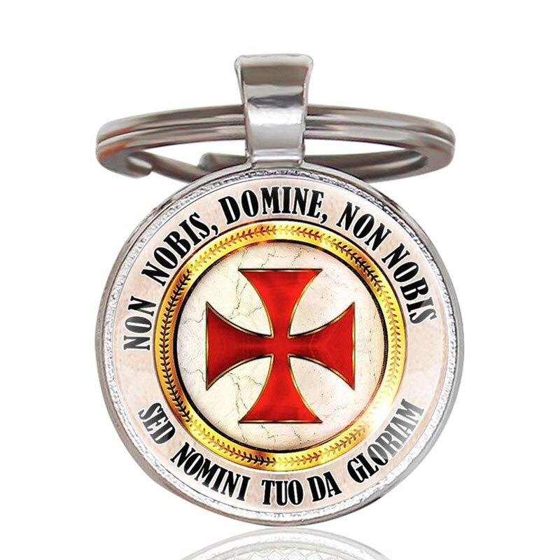 Vintage Silver Knight Templar Cross Pendant Key Chains Antique Men Women Jewelry Gifts Key Rings