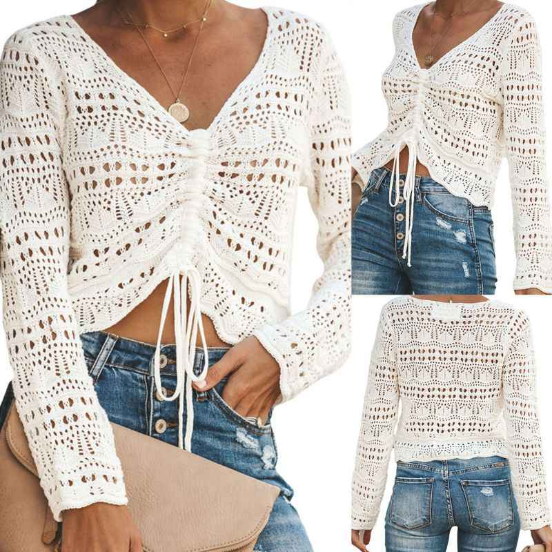2019 Women Crochet Floral Shirt Hollow Out Mesh Long Sleeve Shirt Tops Bikini Cover-up Crop Tops