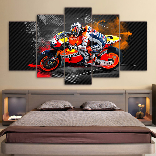 5 Pieces Printed Hd Wall Art Canvas Painting Pictures Modular Motorcycle Racing Home Decor Modern Posters Frame For Living Room