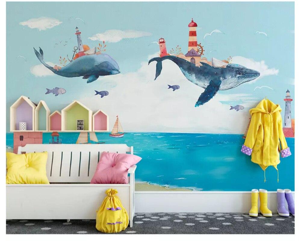 beibehang papel de parede 3d Custom Nordic Creative Watercolor Mediterranean Ocean Whale Children Room Personality Wallpaper