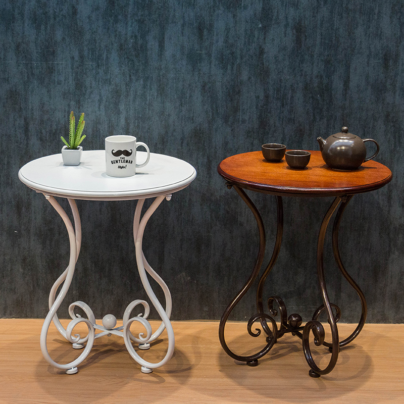 Continental iron coffee table small round table living for Bedroom coffee table