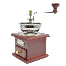 Kaffeemühle Holz und edelstahl Manuelle Kaffeemühle Mühle Hand Kurbel Einstellbar Holz Eisen Antike Weinrot