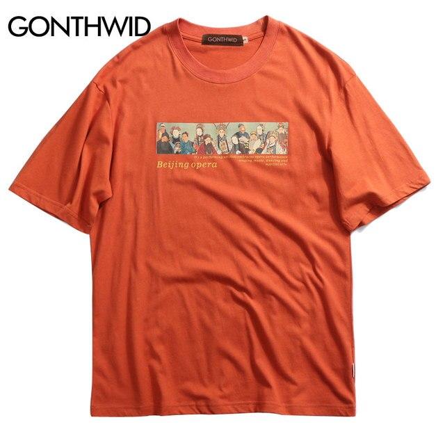 GONTHWID Peking-oper Gedruckt Kurzarm T-shirts 2019 Sommer Herren Hip Hop Streetwear T Shirts Mode Lässig Männlichen Tops Tees