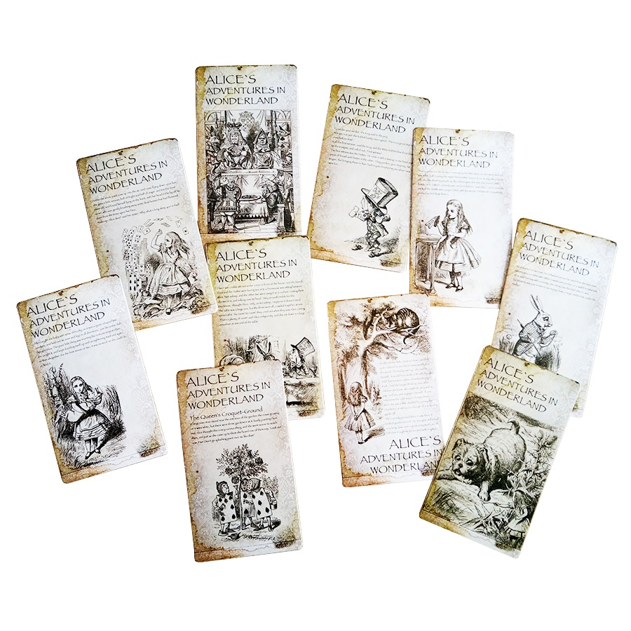 6sets/lot  New Vintage Style Alice's Adventure In Wonderland Post Card Set Greeting Card Christmas Gift