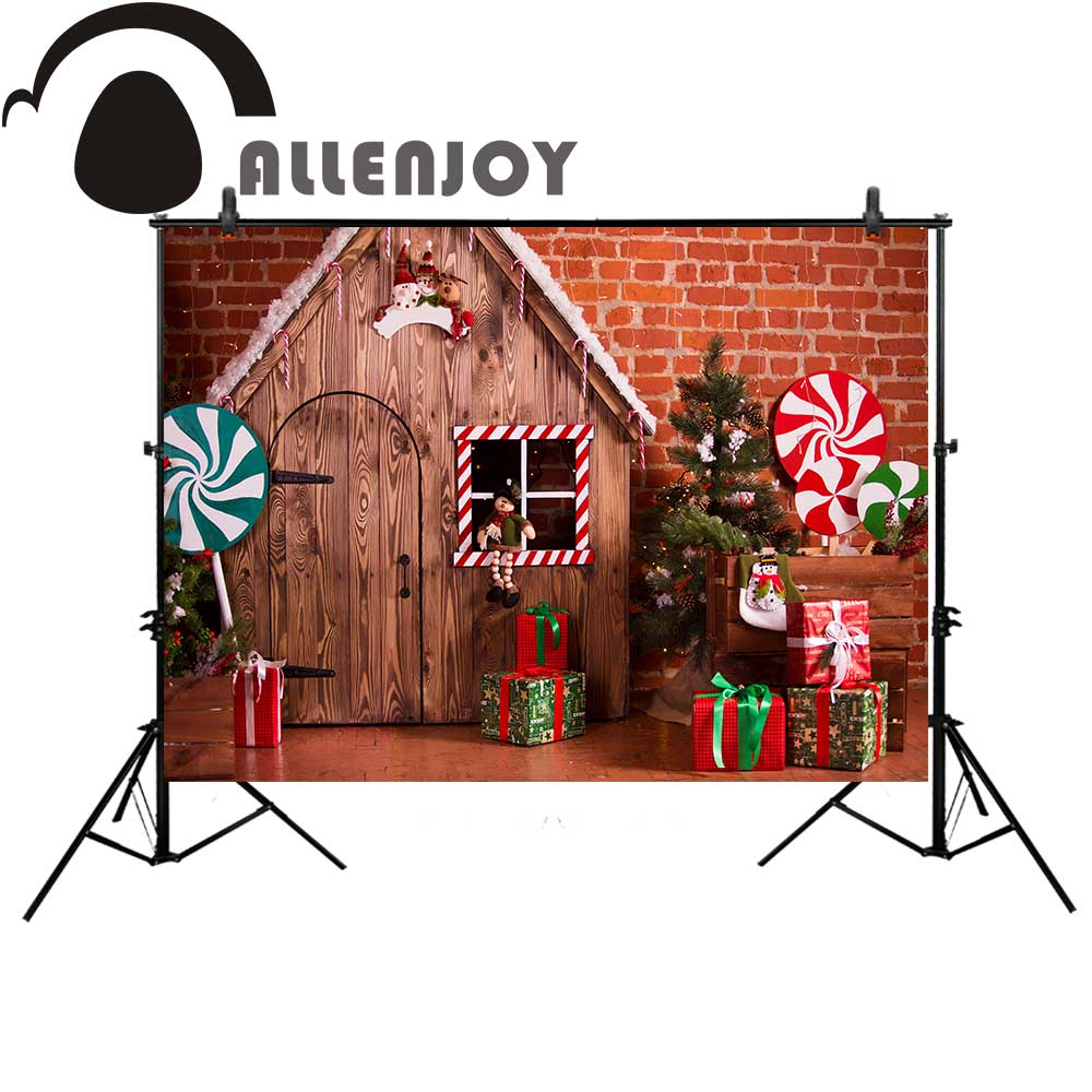 Allenjoy Christmas photography backdrop wood candy house for kids brick wall Background photobooth photocall photo studio allenjoy backdrop spring background green grass light bokeh dots photocall kids baby for photo studio