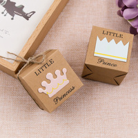50Pcs Set Wedding Party Decoration Kraft Paper Candy Boxes King Queen Couple Crown For Home And