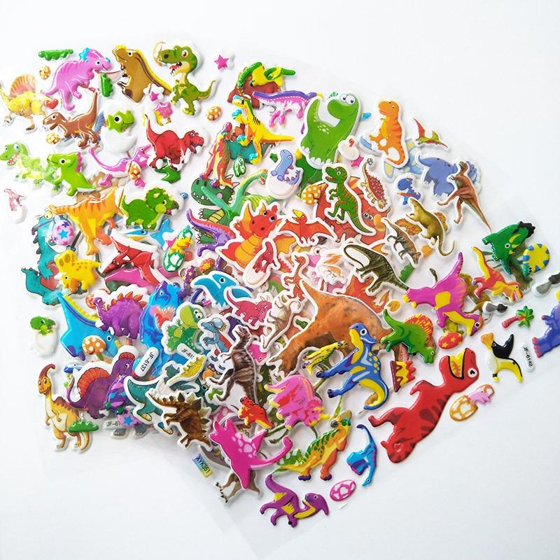 6 Sheets Children PVC Puffy Kids Teacher Reward Stickers Wall Dinosaur Stickers