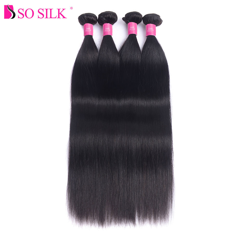 4pc Straight Brazilian Hair Bundles Natural Black Color 8-28 inch Unprocessed Remy Brazilian Human Hair Weave Bundles So Silk