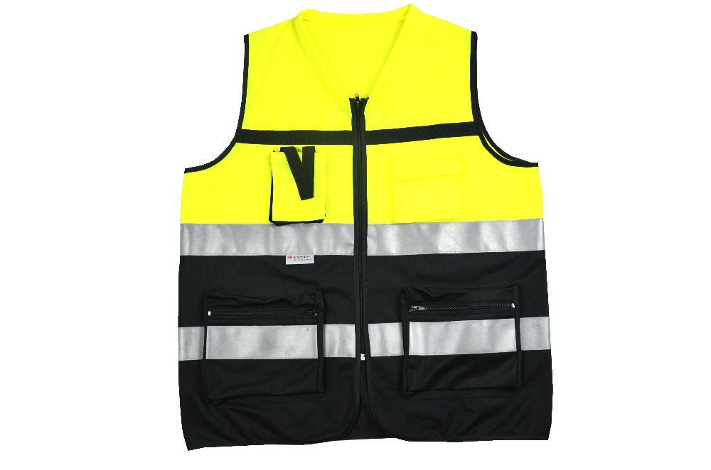 yellow black work clothes reflective safety vest chaleco reflectante gilet jaune securite 3m. Black Bedroom Furniture Sets. Home Design Ideas