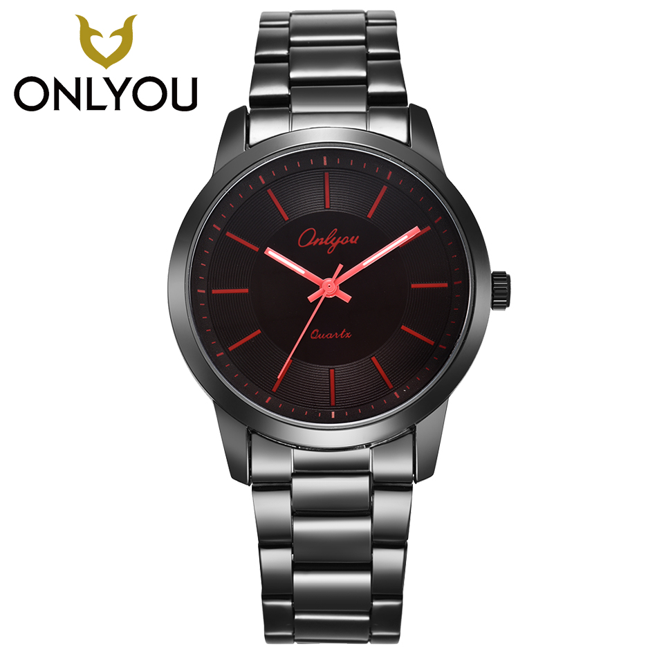 ONLYOU Fashion Casual Mens Watches Top Brand Luxury Steel Watchband Quartz Wrist Watch Waterproof Womens Watches Red Buckle