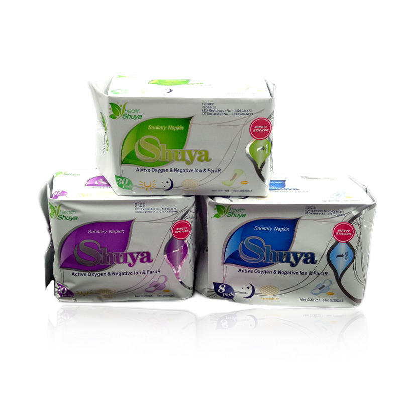 3packs= 48pads ShuYa negative Anion Sanitary napkin,Sanitary towels, sanitary feminine hygiene Panty liners menstrual pad 60 packs 600 pcs anytime brand soft care feminine cotton anion active oxygen and negative ion sanitary napkin for women bsn60