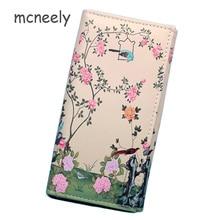 d6496fa70f030 Mcneely kwiaty i ptaki portfel kobiet modna torebka kobiet sprzęgło portfele  studentów urocza portmonetka długi portfel