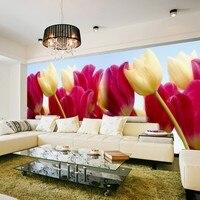 Groothandel 3d papel de parede 3d muurschilderingen behang voor woonkamer bloem muurposters papier Tulp foto muurschildering home derco