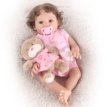 43cm Realistic Chubby little princess Reborn Dolls Babies Silicone Body Baby Girl Toy alive brown eyes bebe gift plush to