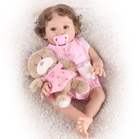 43cm Realistic Chubby little princess Reborn Dolls Babies Silicone Body Baby Girl Toy alive brown eyes bebe Reborn gift plush to
