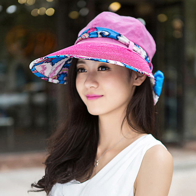 8f3759befd8f1 Summer Sun Hat For Women Bohemian Style Print Large Visors Beach Hat Fashion  Chapeu Feminino Foldable