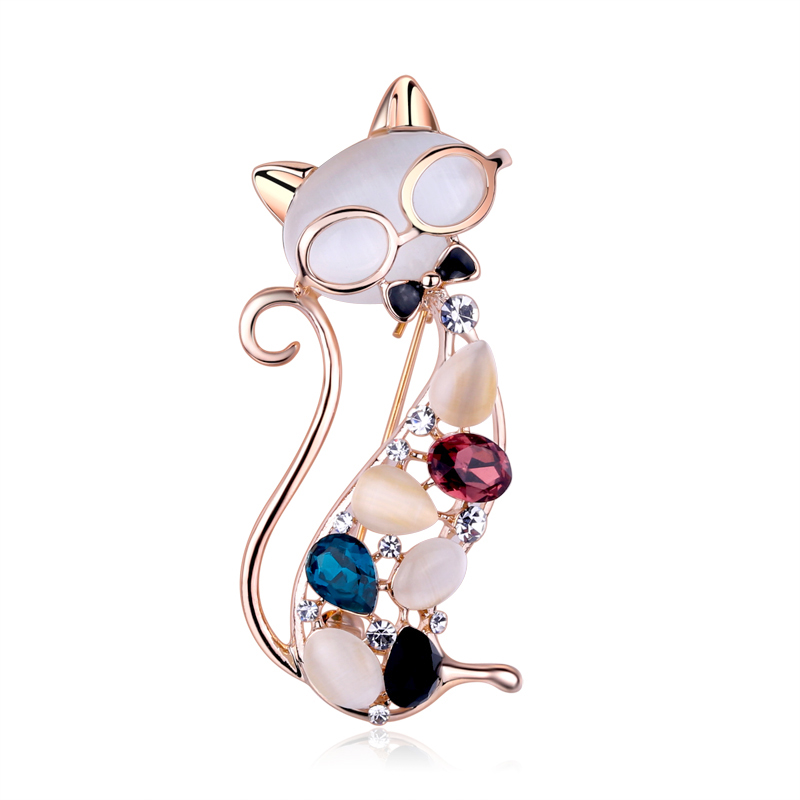Fashion Cute Women Brooches Rhinestone Safety Pin Brooch Jewelry Dress Vintage Cats Broches For Ladies Christmas Gifts XZ020