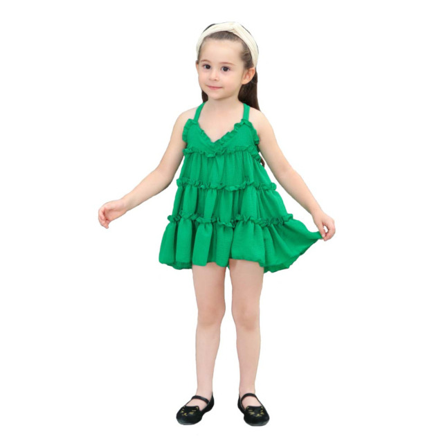 e1b03828652b Summer Style Princess Mini Dress Baby Little Girls Ruffles Tutu Dress Kids  Sling Dress for Party Red Green Child Casual Clothes