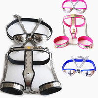 3in1 Female Chastity Belts Thigh Rings Chastity Bra Stainless Steel Underwear Chastity Devices 3 Color Sex Toy for Women G7 5 47