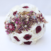 9-inch custom bridal bouquet,Vintage brooch bouquet,Red wine bouquet, Wedding rose wine