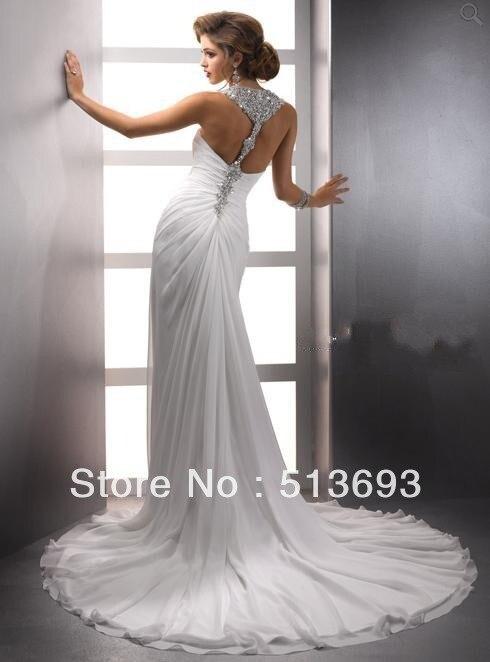 inform newly design sheath halter sleeveless wedding dress 2015 chiffon