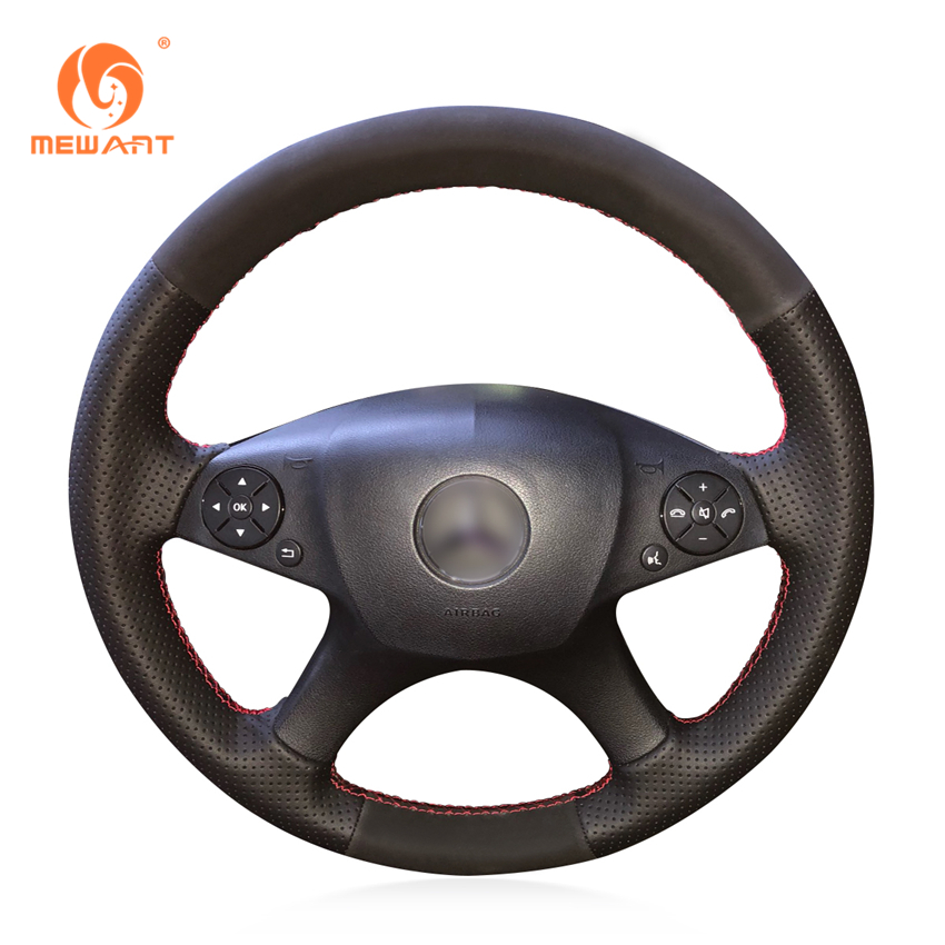 MEWANT Black Genuine Leather Suede Steering Wheel Cover for Mercedes Benz W204 C-Class 2007-2010 C280 C230 C180 C260 C200 C300 w204 c180 c200 c260 c300 carbon fiber car rear trunk lip spoiler wing for mercedes benz w204 c63 4 door 2008 2013 amg style