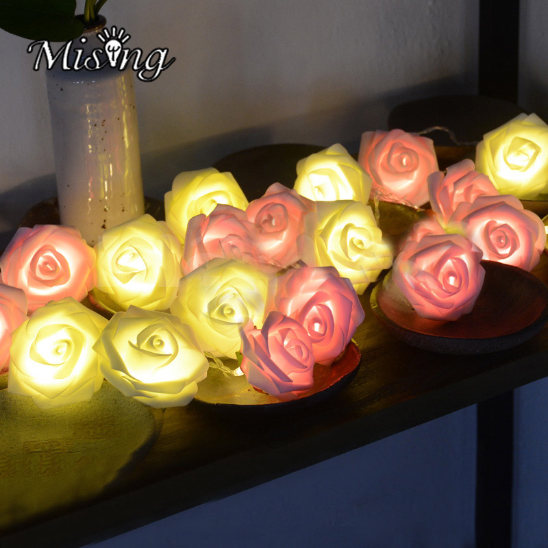 Mising DX-333 20 LED Rose Flower String Lights 3 x AA Batteries Powered Ourdoor Garden Light for Christmas Wedding Decoration