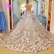 AIJINGYU יוקרה קריסטל שמלות כלה סקסי שמלת 2021 2020 כלה עם שרוולים זול חנות שמלת גרמניה בתוספת גודל שמלות כלה