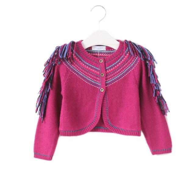 Girls Sweaters Kids Winter Sweater 2017 Gilr Clothes National Stripe Wool Kids Knitted Cardigan Casual Tassel Girl Waistcoat