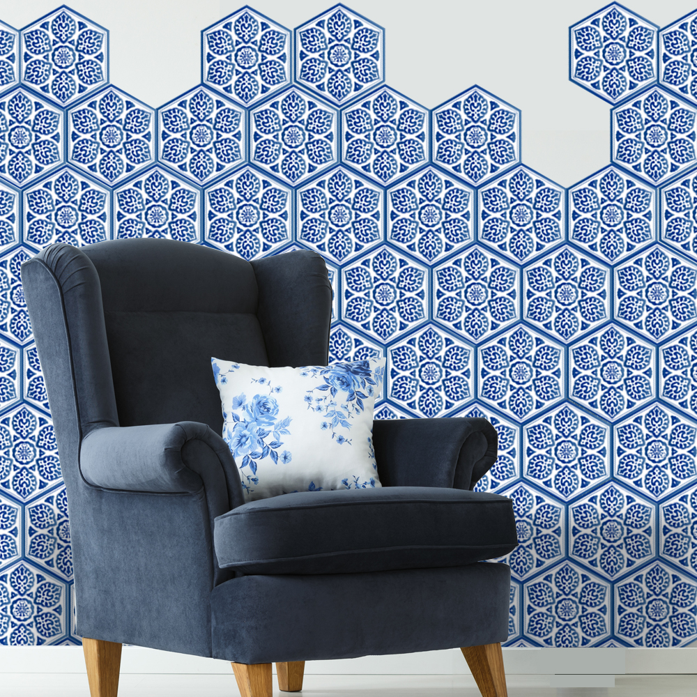 10pcs/set Blue Tile Hexagon Floor Wall Stickers Waterproof Removable ...