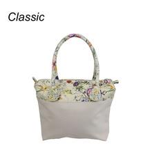 New flower printed insert inner zip pocket canvas plus handles companition for Classic Obag O bag women's handbags