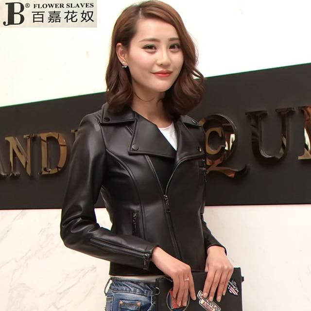 ac6a7a4bcdd Factory 2017 New Women Fashion Black Genuine Leather Jacket Oblique Zipper Real  Sheepskin Slim Fit Lady
