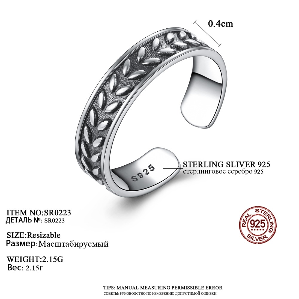 Fenchen Vintage 925 Sterling Silver Leaf Finger Rings for Women Fine Jewelry Anillos Plata 925 Para Mujer Christmas Gifts AR001