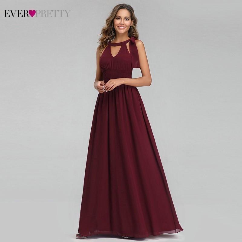 Burgundy Evening Dresses Long Ever Pretty A-Line Halter Sleeveless Elegant Summer Formal Party Dresses Vestido Longo Festa 2019