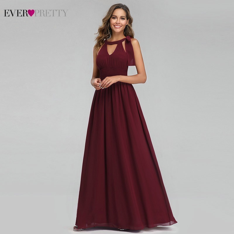 Burgundy Evening Dresses Long Ever Pretty A-Line Halter Sleeveless Elegant Summer Formal Party Dresses Vestido Longo Festa 2019