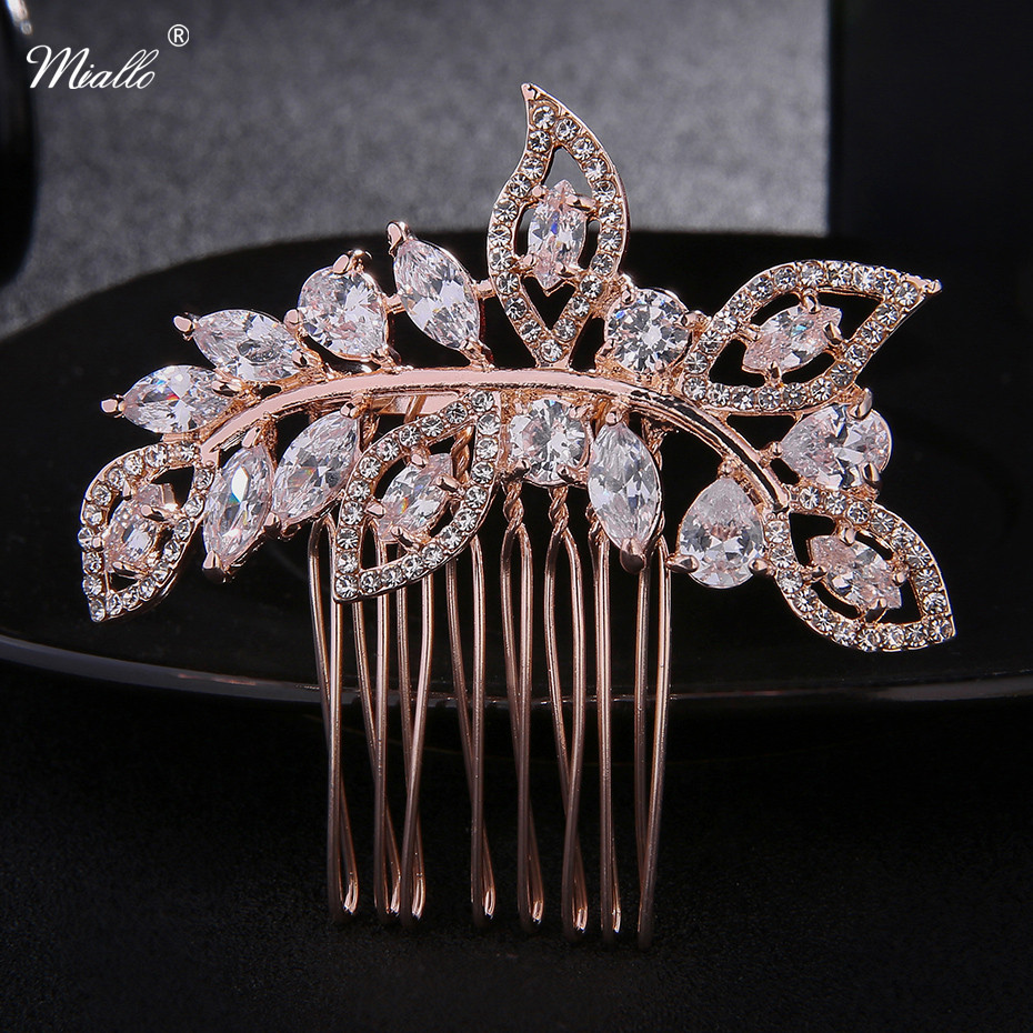Miallo Newest Fashion Rose Gold Wedding Accessories For Bride Crystals Hair Comb Hairpie ...